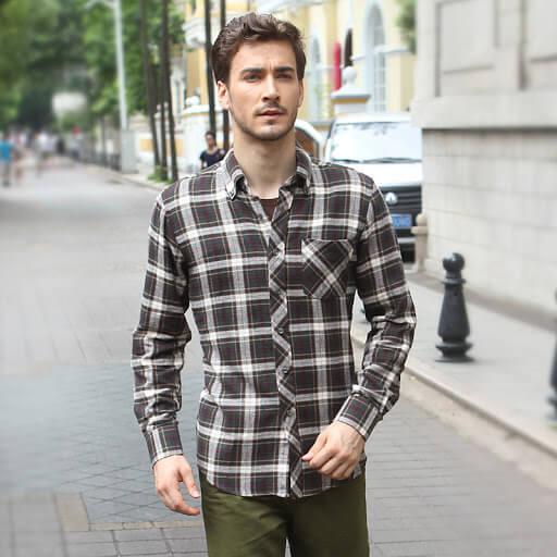 Contoh kemeja pria: Kemeja flannel kotak