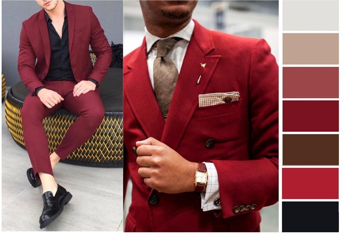Contoh Bombinasi Warna Pakaian Merah untuk Pria