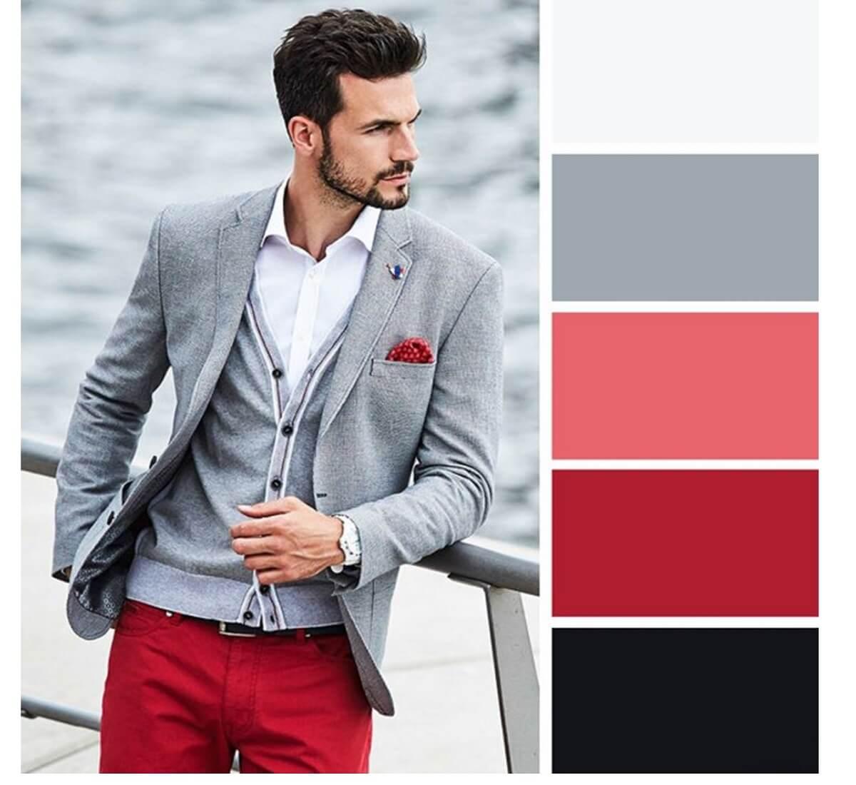 Kombinasi Warna Baju dan Celana Pria untuk Warna Abu