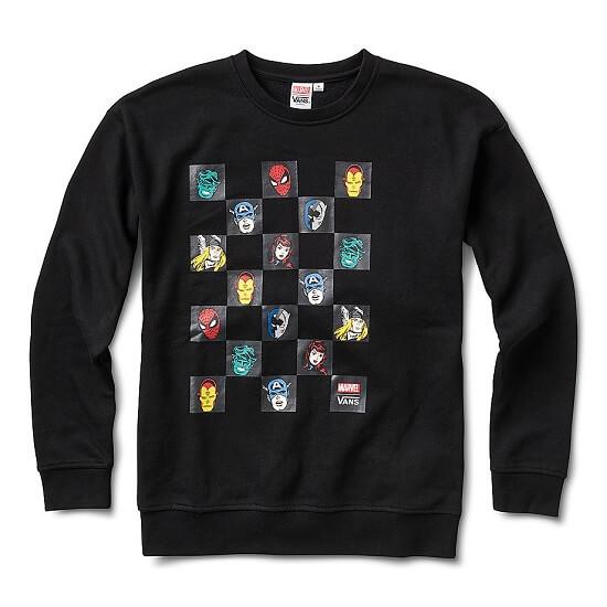 Vans x Marvel Heads Check Crew Black Sweatshirt