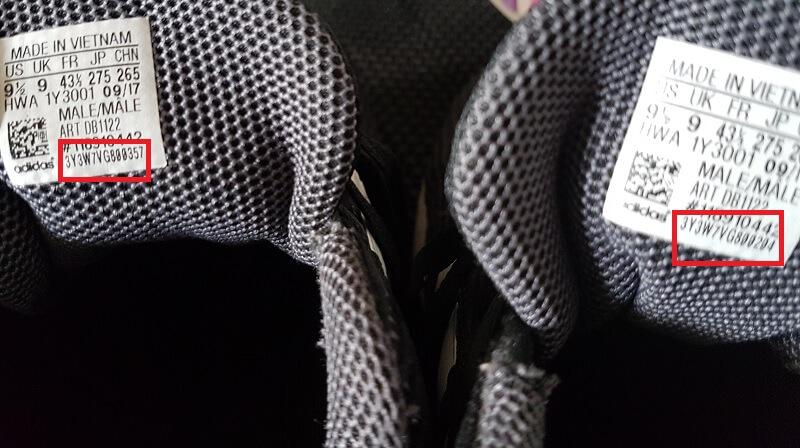 Bandingkan Nomor PO di Kedua Belah Sepatu Adidas