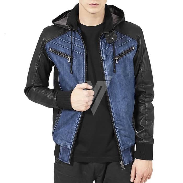 Jaket Kulit Pria Kombinasi Jeans Biru Asli