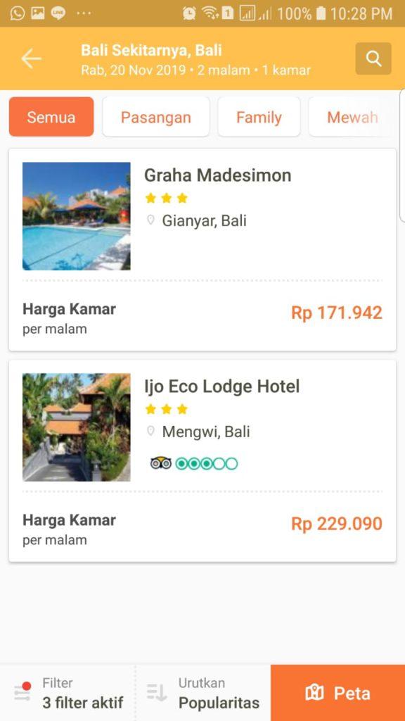 Pilih hotel di Pegipegi