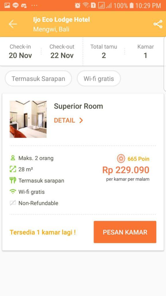 Booking hotel di Pegipegi