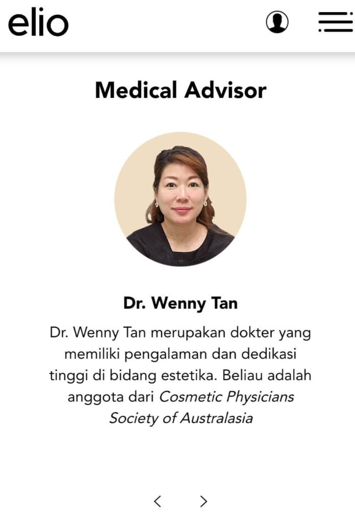 Dr Wenny Tan - Medical Advisor di Elio